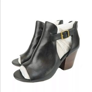 Isola Lillith Womens Black Leather Open Toe Bootie